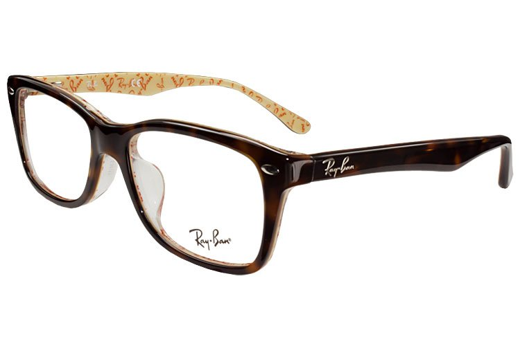 亚虎娱乐手机网页版_雷朋Ray-Ban_RB5228F 5057_高级精品板材_玳瑁色_男女通用全框弹簧腿眼镜框