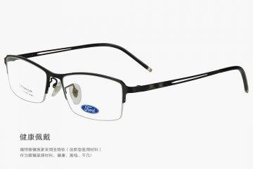 亚虎娱乐手机网页版_福特FORD_9902 C1_男士黑色β钛半框眼亚虎娱乐中心pt