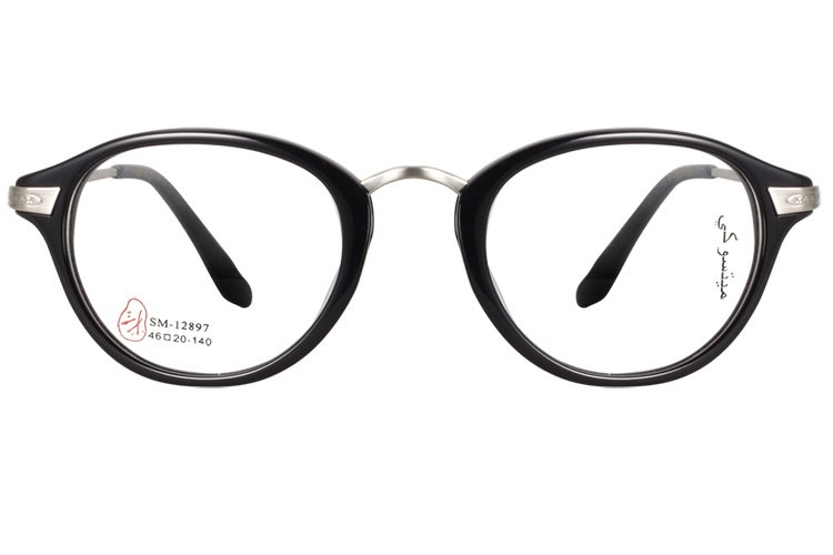 亚虎娱乐官网登入_三木_SM-12897 C1_手造板材+高级合金_潮人复古黑色全框眼镜框