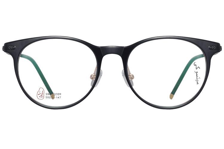 亚虎娱乐手机网页版_三木_SM-22009 C1_手造板材+高级合金_潮人复古黑色全框眼镜框
