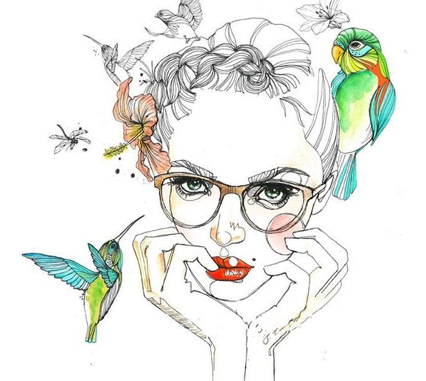 唯美手绘插画都市眼镜女郎彰显迷人气质